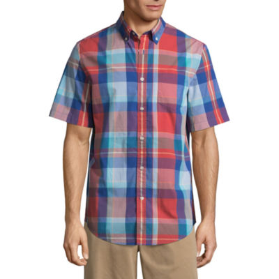 St. John's Bay Short Sleeve Gingham Button-Front Shirt