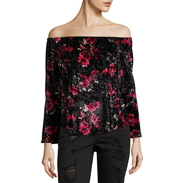 Almost Famous Long Sleeve Off Shoulder Blouse-Juniors