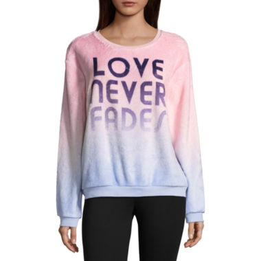 "Love Never Fades"" Fuzzy Sweatshirt - Juniors"