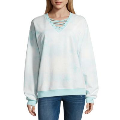 Long Sleeve Lace Up Sweatshirt-Juniors