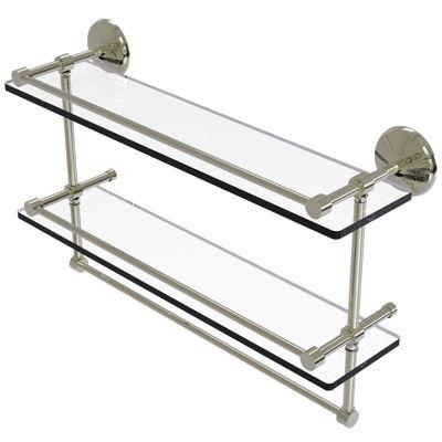 Allied Brass 22 IN Gallery Double Glass Shelf WithTowel Bar