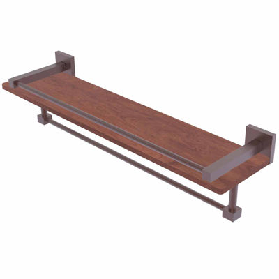 Allied Brass Montero Collection 22 IN Ipe IronwoodShelf With Gallery Rail And Towel Bar