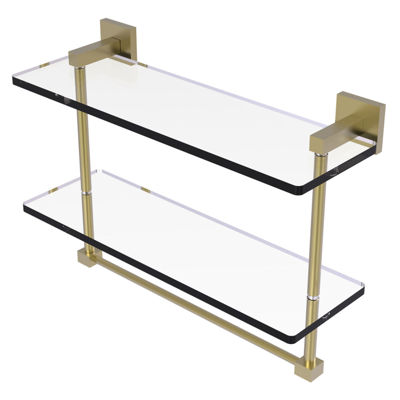 Allied Brass Montero Collection 16 IN Two Tiered Glass Shelf With Integrated Towel Bar