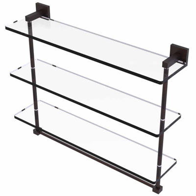 Allied Brass Montero Collection 22 IN Triple Tiered Glass Shelf With Integrated Towel Bar