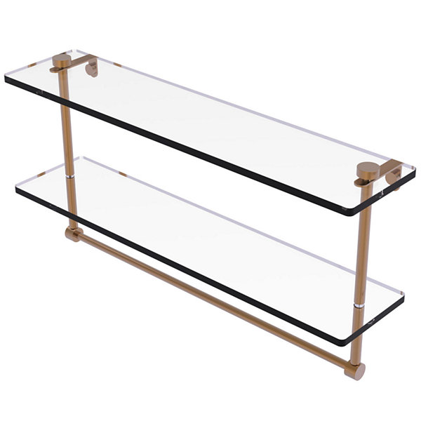 Allied Brass 22 IN Two Tiered Glass Shelf With Integrated Towel Bar