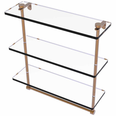 Allied Brass 16 IN Triple Tiered Glass Shelf WithIntegrated Towel Bar