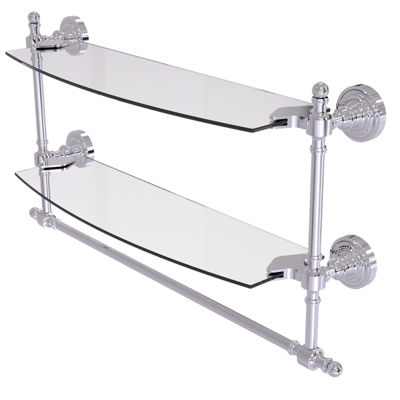Allied Brass Retro Dot Collection 18 IN Two TieredGlass Shelf With Integrated Towel Bar