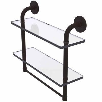 Allied Brass Remi Collection 16 IN Two Tiered Glass Shelf With Integrated Towel Bar