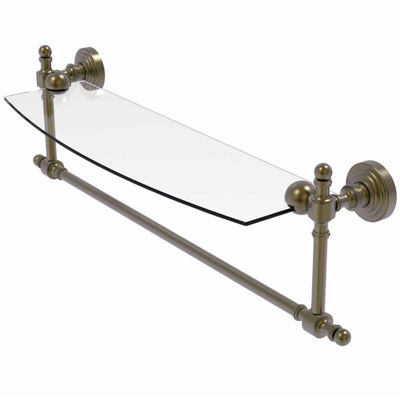 Allied Brass Retro Wave Collection 18 IN  Glass Vanity Shelf  With Integrated Towel Bar