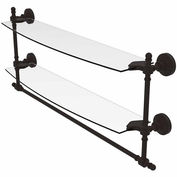 Allied Brass Retro Wave Collection 24 IN Two Tiered Glass Shelf With Integrated Towel Bar