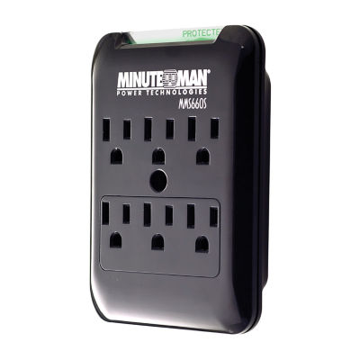 Minuteman Slimline Series 6-Outlet Wall Tap Surge Suppressor, 540 Joules