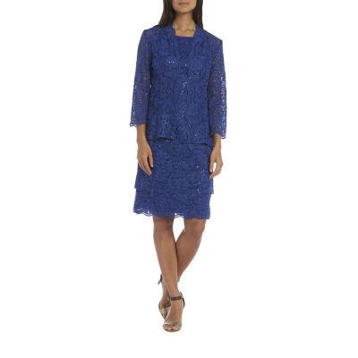 R & M Richards Embellished Jacket Dress-Petites