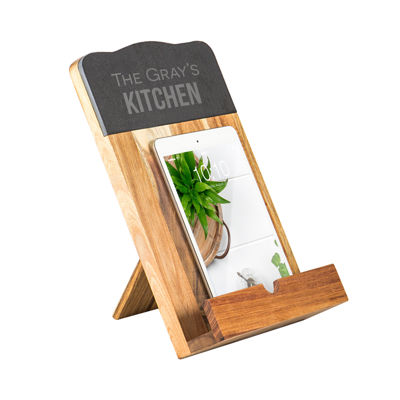 Personalized Slate & Acacia Tablet Recipe Stand
