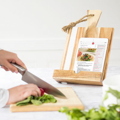 Personalized Marble & Acacia Tablet Recipe Stand