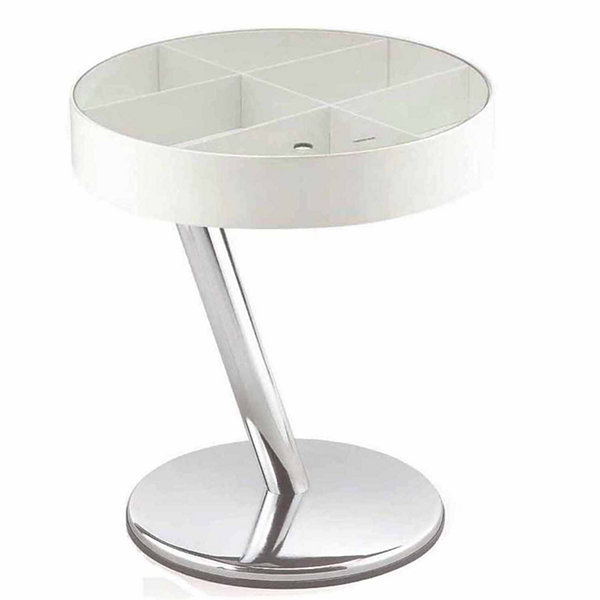 End Table With Small Storage And Tempered Glass In White/ Chrome Color
