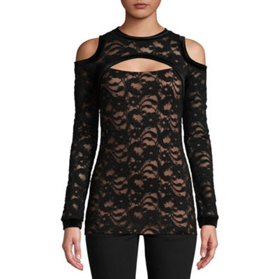Bisou Bisou Keyhole Cold Shoulder Lace Top