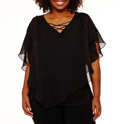 Alyx Short Sleeve V Neck Chiffon Blouse-Plus