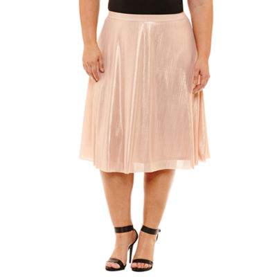 Boutique + Womens Mid Rise Midi Full Skirt-Plus