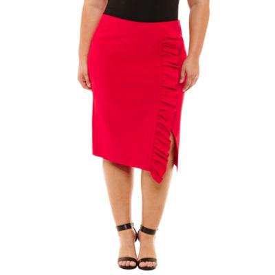 Boutique + Ruffle Asymmetrical Skirt-Plus