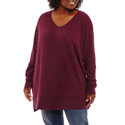 Boutique + Bar Back Sweater Tunic Top Plus