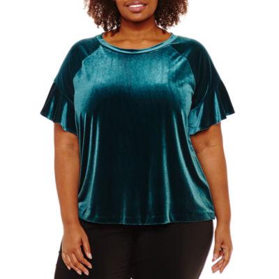Worthington Short Sleeve Velvet Blouse-Plus