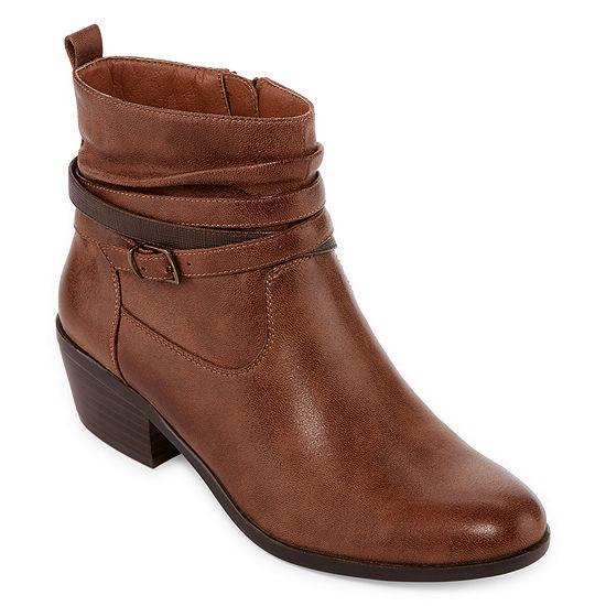 Yuu Womens Stacked Heel Zip Penelope Bootie