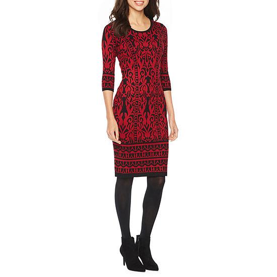 Danny & Nicole 3/4 Sleeve Midi Sweater Dress