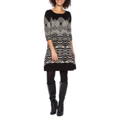Danny & Nicole 3/4 Sleeve Sweater Dress