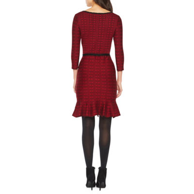 Danny & Nicole Belted 3/4 Sleeve Sweater Dress