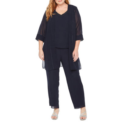 Maya Brooke 3-pc. 3/4 Sleeve Duster Pant Set - Plus