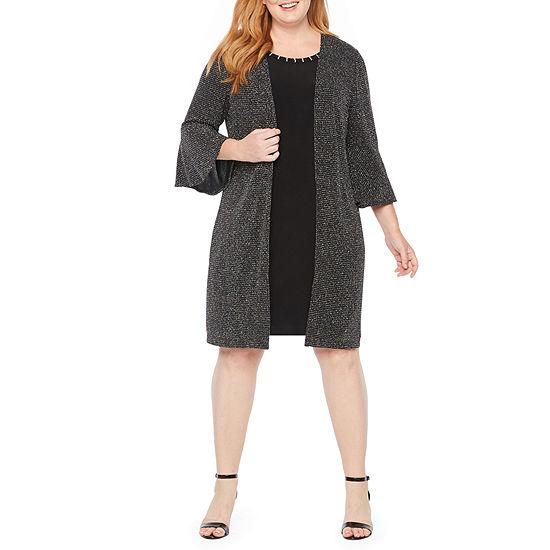 Scarlett 3/4 Sleeve Glitter Mock Jacket Dress - Plus