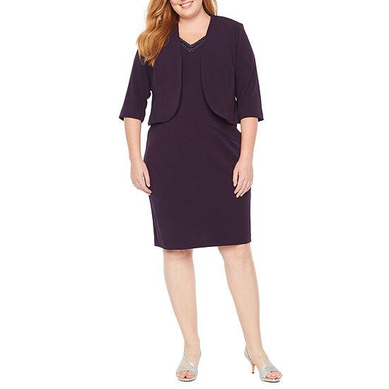 Maya Brooke 3/4 Sleeve Embellished Neck Jacket Dress - Plus