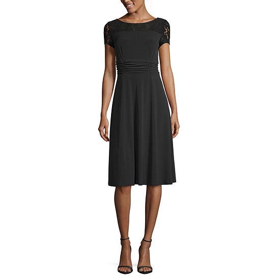 Perceptions Short Sleeves Fit & Flare Dress-Petite