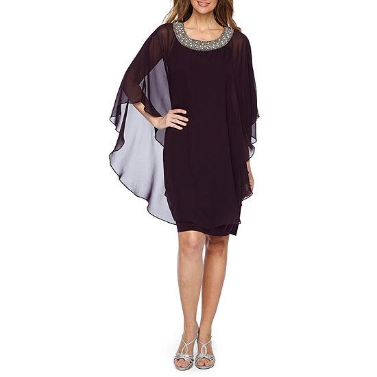 R & M Richards 3/4 Sleeve Embellished Cape Shift Dress