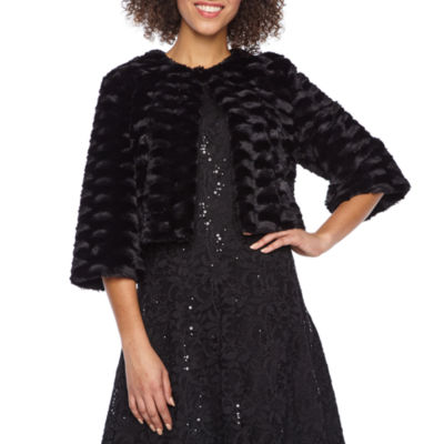 Ronni Nicole 3/4 Sleeve Faux Fur Shrug