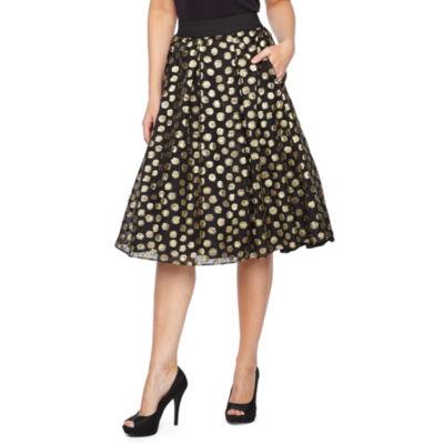 Ronni Nicole Womens High Waisted Midi Full Skirt