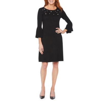 Liz Claiborne Embellished 3/4 Bell Sleeve Sweater Dress