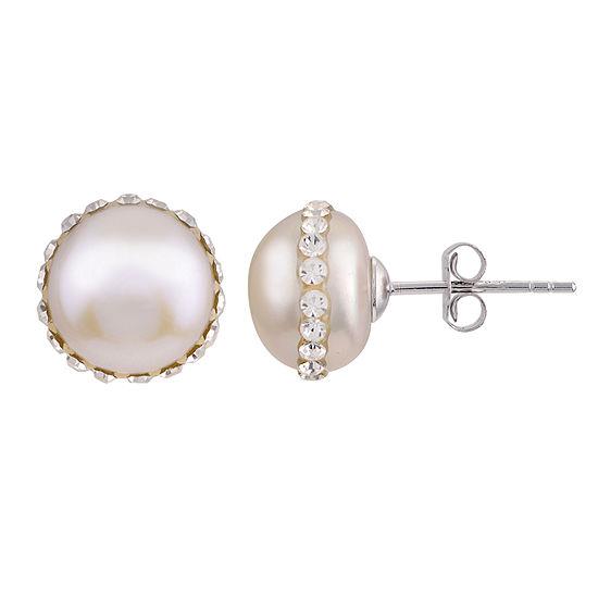 Genuine White Cultured Freshwater Pearl Sterling Silver 8mm Stud Earrings