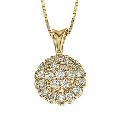 Diamond Blossom Womens 3/8 CT. T.W. Genuine White Diamond 14K Gold Pendant Necklace