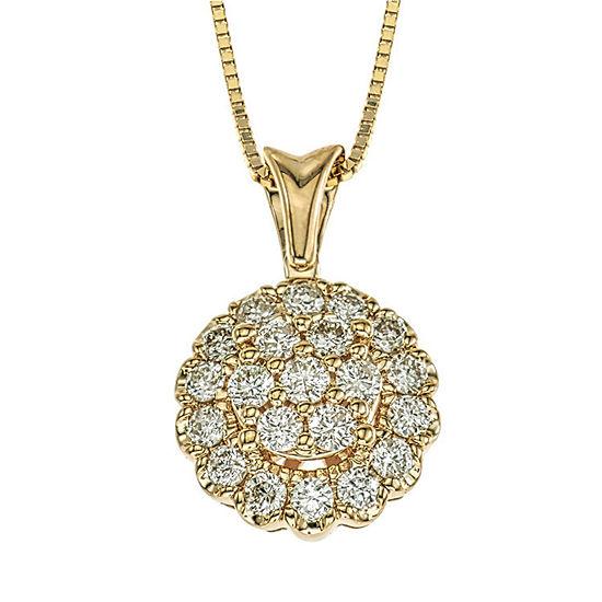 Diamond Blossom Womens 3/8 CT. T.W. Genuine White Diamond 14K Gold Pendant Necklace