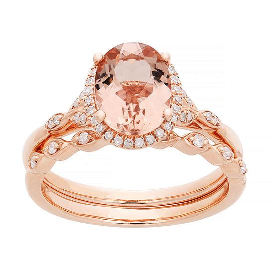 Modern Bride Gemstone Genuine Morganite & 1/5 CT. T.W.  Genuine Diamond 10K Rose Gold Bridal Set