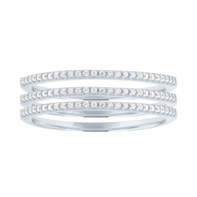 Womens 1/5 CT. T.W. Genuine White Diamond Sterling Silver Wedding Stackable Ring