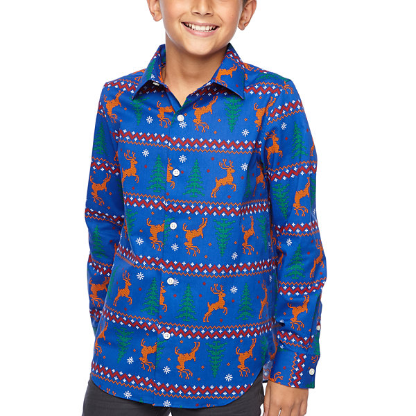 North Pole Trading Co. Boys & Husky Jingle Long Sleeve Holiday Dress Shirt