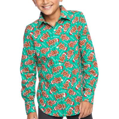 North Pole Trading Co. Boys & Husky Jingle Long Sleeve Holiday Dress Shirt