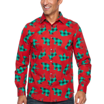North Pole Trading Co. Jingle Shirt Mens Point Collar Long Sleeve Dress Shirt