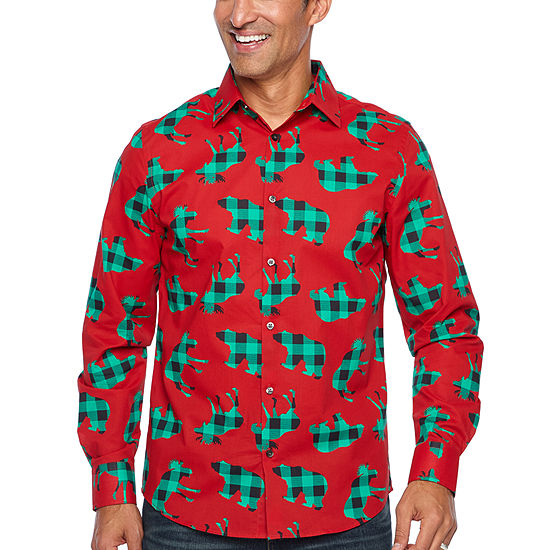 903c86d609 North Pole Trading Co. Jingle Shirt Mens Point Collar Long Sleeve Dress  Shirt - JCPenney