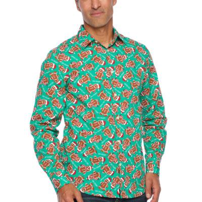 North Pole Trading Co. Jingle Shirt Long Sleeve Woven Holiday Dress Shirt