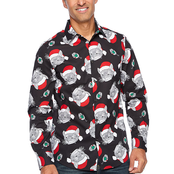 North Pole Trading Co. Jingle Shirt Mens Point Collar Long Sleeve Dress Shirt
