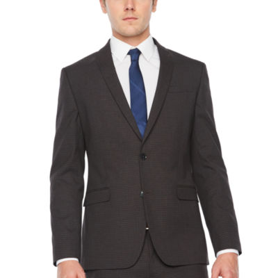 JF J.Ferrar Mens Grid Stretch Slim Fit Suit Jacket