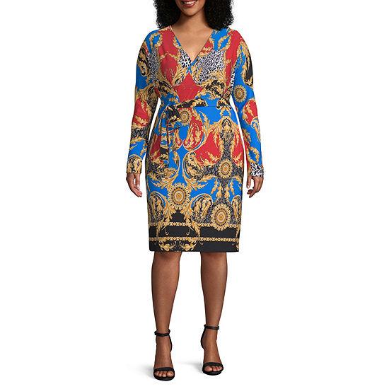 Bold Elements-Plus Long Sleeve Brocade Wrap Dress